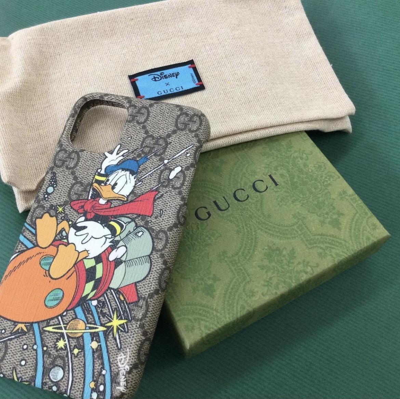グッチ iPhone11ケース ドナルドダック PVCコーティングキャンバスディズニーコラボ